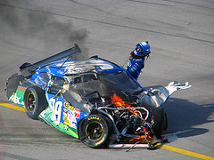 What a car looks like after getting hit at 180 MPH