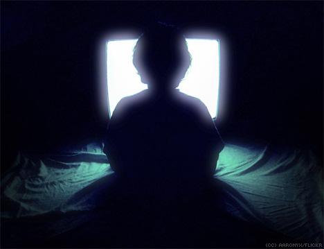 Child spellbound by TV